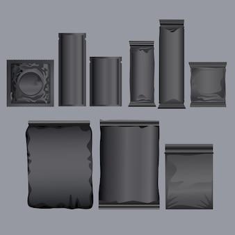 Productos de embalaje negro establecer iconos