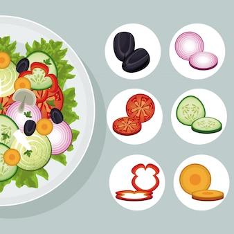 Productos de ensalada de verduras alimentos naturales