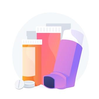 Productos farmaceuticos. enfermedad respiratoria, asma bronquial, elemento de diseño de tratamiento de alergia. suplemento médico, pastillas e inhalador para el asma. ilustración de metáfora de concepto aislado de vector