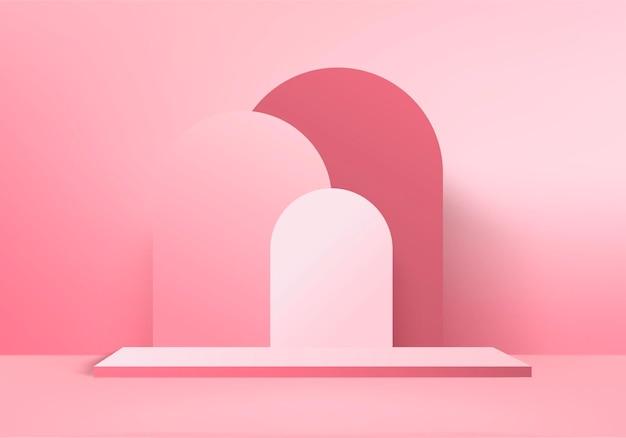 Los productos de fondo 3d muestran una escena de podio con plataforma geométrica. renderizado 3d de fondo con podio. stand para mostrar productos cosméticos. escaparate de escenario en pedestal display pink studio