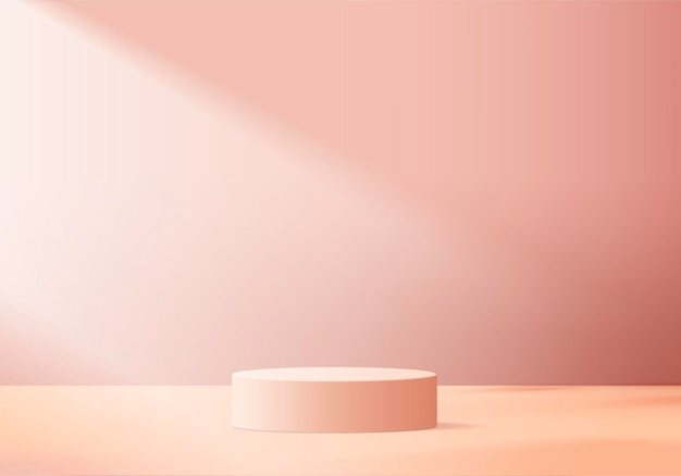 Los productos de fondo muestran una escena de podio con plataforma geométrica. renderizado de fondo con podio. stand para mostrar productos cosméticos. escaparate de escenario en pedestal display pink studio