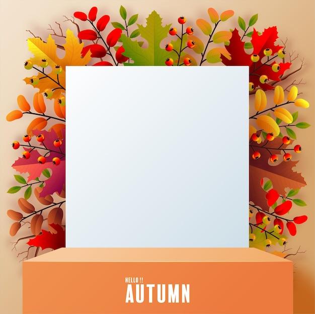 Productos de fondo de podio 3d con formas geométricas fondo de temporada de vacaciones de otoño