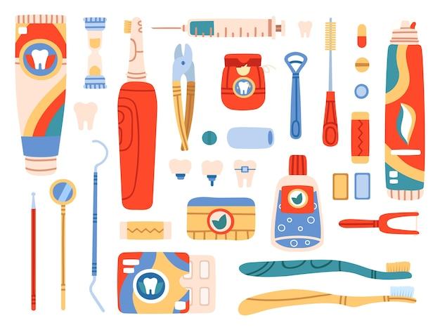 Productos de higiene bucal y herramientas de limpieza.