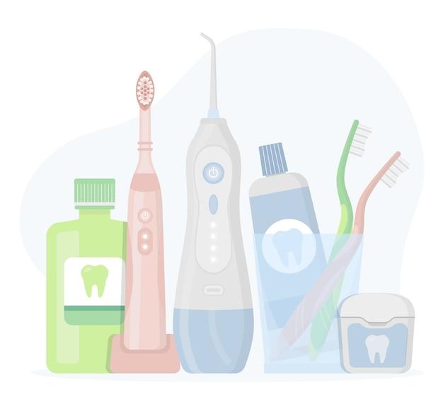 Productos de higiene y herramientas de limpieza dental, cepillos de dientes y enjuagues bucales con hilo y pasta