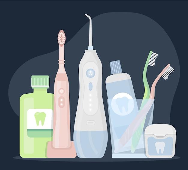 Productos de higiene y herramientas de limpieza dental.