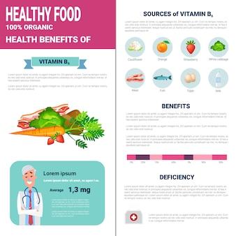 Productos de infografías de alimentos saludables con vitaminas, concepto de estilo de vida de nutrición de salud