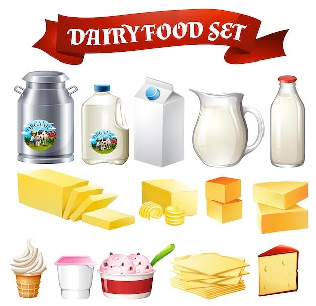 Productos lácteos conjunto de alimentos ilustración