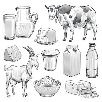 Productos lácteos dibujados a mano. leche de vaca y cabra de granja producto fresco saludable.