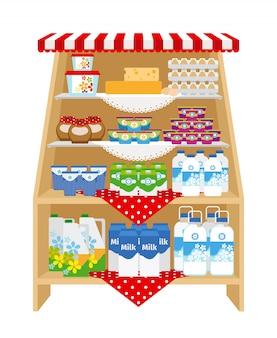 Productos lácteos en los estantes de las tiendas.