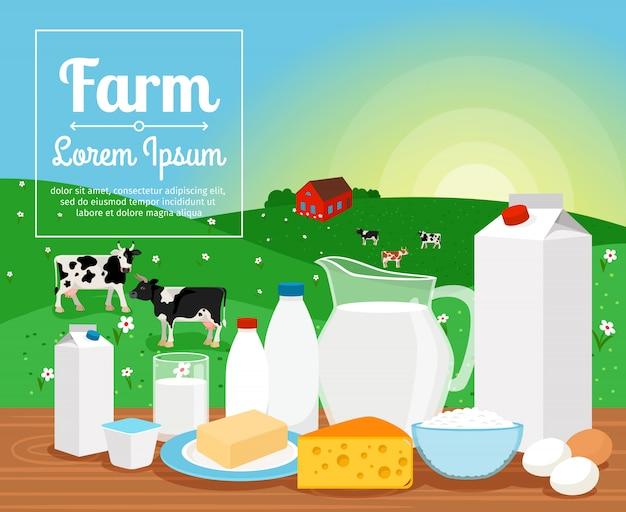 Productos lácteos de granja lechera en paisaje rural.