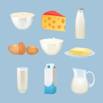 Productos lácteos con huevos, queso y crema.