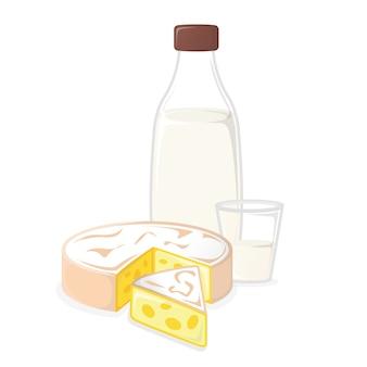 Productos lácteos. leche y queso. icono de concepto y etiqueta. símbolo, icono y distintivo de alimentos naturales y saludables. ilustración de dibujos animados