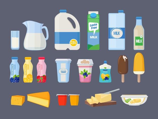 Productos lácteos. leche de vaca yogur helado queso crema agria kéfir requesón alimento natural. ilustración de vidrio, yogur y crema de leche de productos lácteos