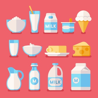 Productos lácteos, leche, yogurt, crema, productos de queso.