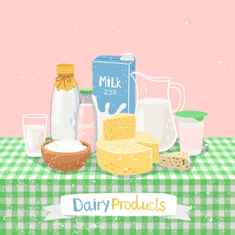 Productos lácteos en la mesa