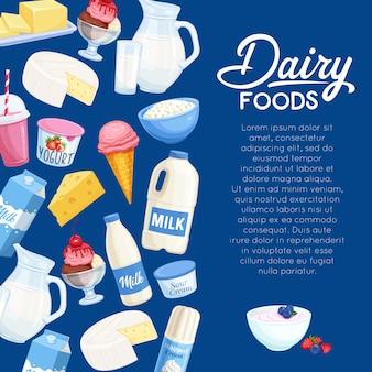 Productos lácteos. productos de granja de leche de página de plantilla.