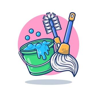 Productos de limpieza aislados en blanco