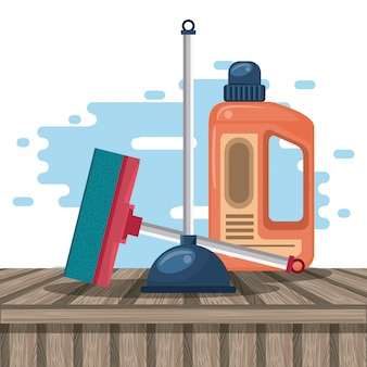 Productos de limpieza para caricaturas del hogar.