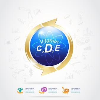 Productos de logotipo de nutrición y vitamina para niños.