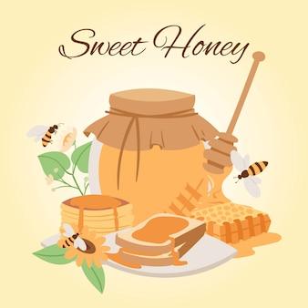 Productos de miel ilustraciones de dibujos animados. tarro de miel, abejas, trozos de panal y puncakes. miel orgánica y natural.