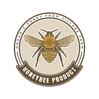 Productos de miel o logotipo de granjas de abejas melíferas