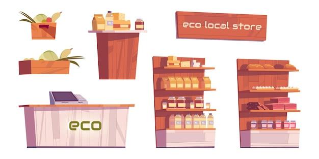 Productos y muebles de tienda ecológica local aislados sobre fondo blanco.