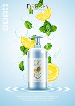 Productos naturales para el cuidado de la piel con hojas y limón.