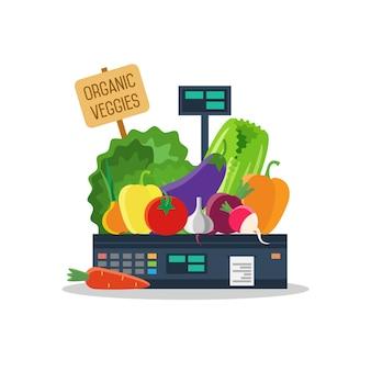 Productos naturales, verduras y frutas en escamas.