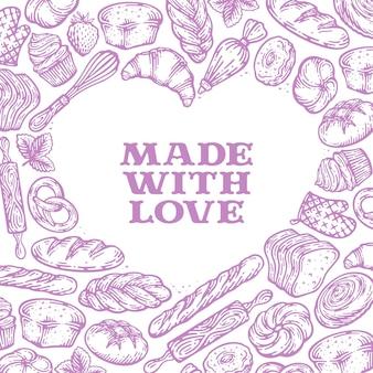 Productos de pan de cartel de comida de vector en diseño en forma de corazón