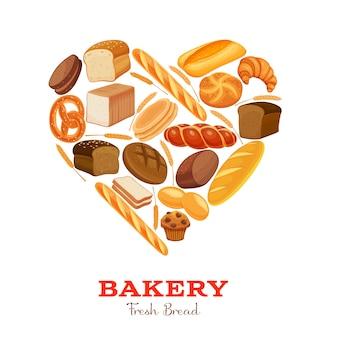 Productos de pan en forma de corazón