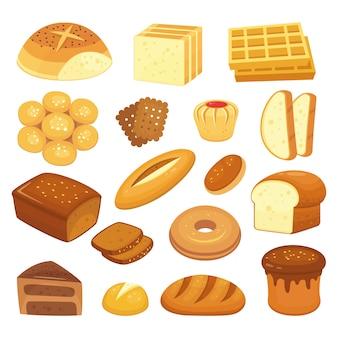 Productos de panadería de dibujos animados. pan tostado, panecillo francés y bagel de desayuno. conjunto de panes integrales, pan dulce y pan