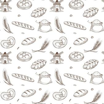 Productos de panadería, molino antiguo y espigas frescas dentro de patrones sin fisuras