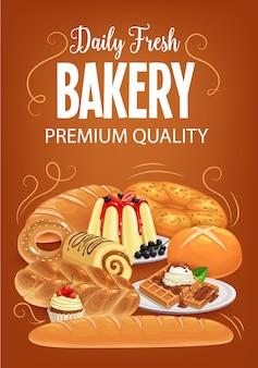 Productos de panadería pan, postres dulces y repostería.