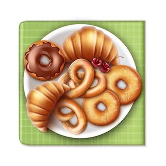 Productos de panadería de vector en placa y servilleta a cuadros verdes crujientes croissants franceses, donas con glaseado, pretzels con guarnición de cereza