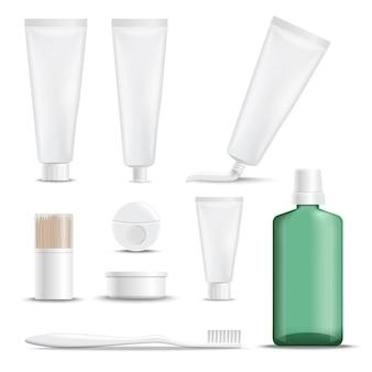 Productos realistas para el cuidado de los dientes