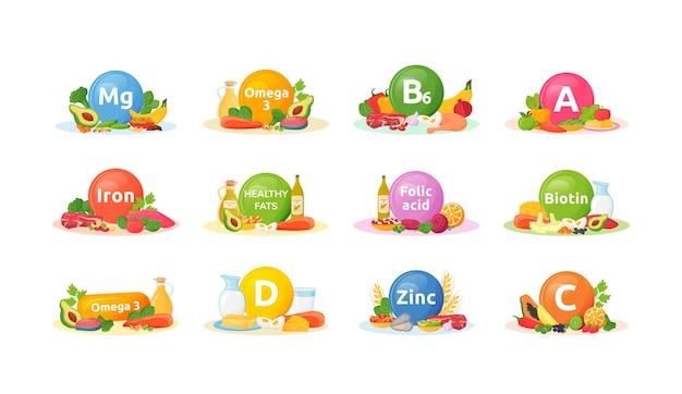 Productos ricos en vitaminas, minerales para la salud conjunto de ilustraciones de dibujos animados. objeto de color plano de dieta equilibrada. vitamina a, b6, d. buena nutrición. alimentación saludable aislado sobre fondo blanco.