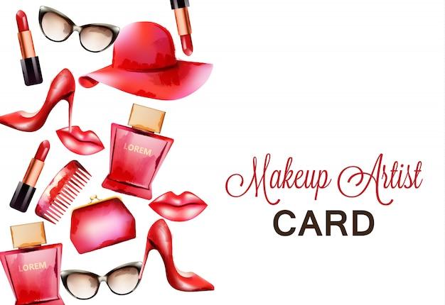 Productos rojos de moda que incluyen peine, gafas, lápiz labial, perfume, bolsa y tacones altos.
