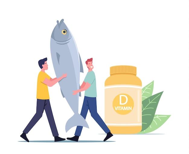 Productos saludables o alimentos que contienen vitamina d, un pequeño personaje masculino lleva un enorme pez en las manos cerca de la botella con vitaminas