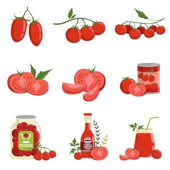 Productos de tomate y tomates sanos rojos frescos conjunto de ilustraciones vectoriales
