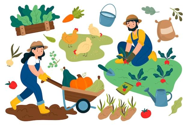 Profesión agrícola dibujada a mano