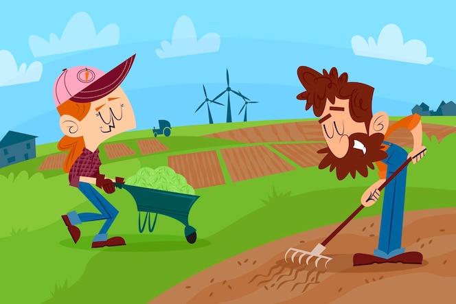 Profesión de agricultura ecológica plana