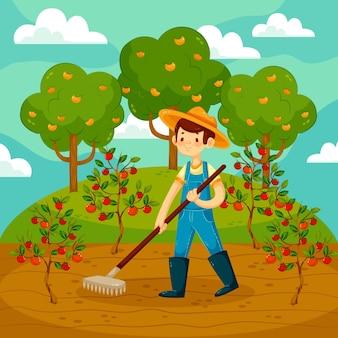 Profesión de agricultura orgánica ilustración plana