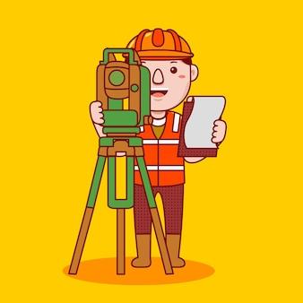 Profesión de agrimensor de hombre en estilo de dibujos animados plana
