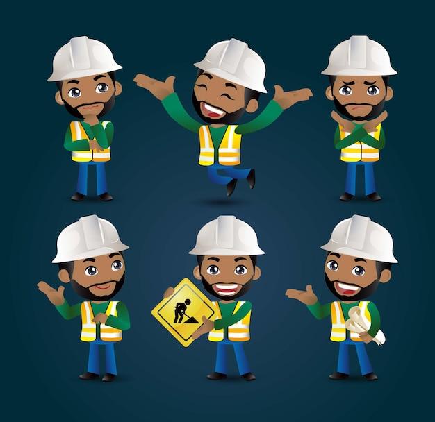 Profesión - constructor. trabajador. ingeniero con diferentes poses.
