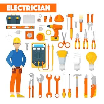 Profesión electricista iconos conjunto con voltímetro y herramientas. ilustración