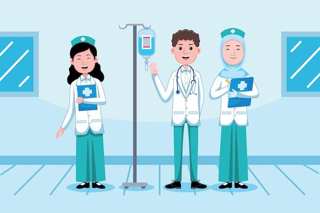 Profesión de médico y enfermera