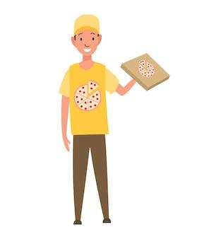 Profesión de reparto de pizza de mensajero de carácter.
