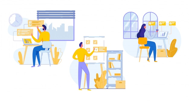 Profesional banner oficina trabajo planificación dibujos animados
