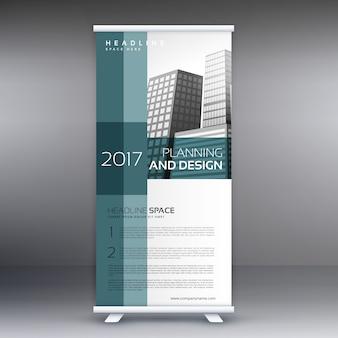 Profesional enrollar standee banner vector plantilla de diseño