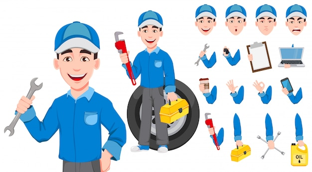 Profesional mecánico de automóviles en uniforme.